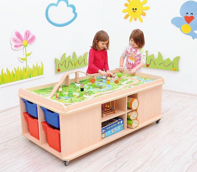 Speeltafel Met Opbergruimte.Speeltafel Op Wielen Speelmat
